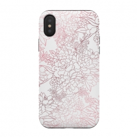 iPhone Xs / X  Elegant floral rose gold strokes doodles design by InovArts (Luxury floral,rose gold,blush pink strokes,doodles design,elegant flowers bouquet,lux,romantic garden floral,hand drawn design,blooming wild flowers,foliage doodles,white color,simple,trendy,pattern,illustration,image,Beautiful,fashion trend,creative art,glam,feminine,elegant artwork)