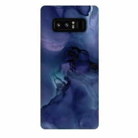 Galaxy Note 8  Black Glitter Veins on Blue Ink Marble by Utart