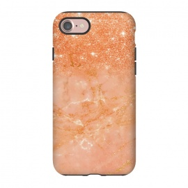 iPhone 8/7  Living Coral Glitter and Veins on marble by Utart