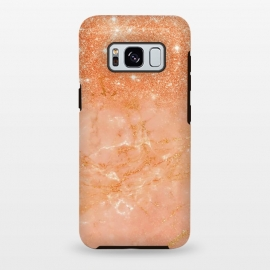 Galaxy S8 plus  Living Coral Glitter and Veins on marble by