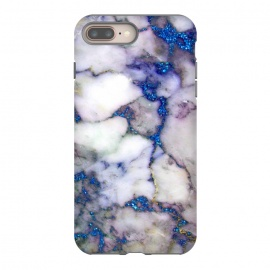 iPhone 8/7 plus  Blue Glitter Veins on Gray Marble by Utart (Stylish, Ombre, Girly, Marble, Marbled, Nature, Texture, Geode, Terrazzo, Metallic, Scandi, Bohemian, Boho, Scandinavian ,stone, crystal, quartz, gemstone, gem, granite, shimmer, shimmery, shiny ,metallic,trendy girly, simply, simple, glitter, chrystal, ink ,malachite, agate, metal, foil ,summer, sp)