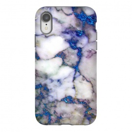 iPhone Xr  Blue Glitter Veins on Gray Marble by