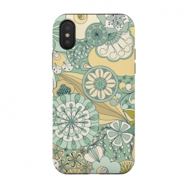 iPhone Xs / X  Flowers, Flowers Everywhere - Cream and Mint by Paula Ohreen