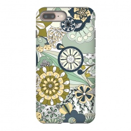 Flowers, Flowers Everywhere - Navy and Green by Paula Ohreen