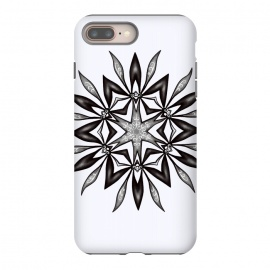 Kaleidoscopic Flower Art In Black And White by Boriana Giormova (kaleidoscope, pattern, shape, geometric, abstract, ornament, art, beautiful, graphic, mandala, kaleidoscopic, illustration, symmetry, symmetrical, flower, decorative, floral, modern, gothic, goth, black and white, monochrome, mandala art, floral art, flower art, black and white art, digital art, dra)
