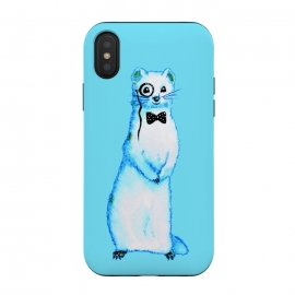 iPhone Xs / X  Cute Ferret Hipster Blue Watercolor Art by Boriana Giormova (ferret, gentleman, white ferret, animal, cute, monocle, bow tie,  bowtie, watercolor, mammal, polecat, pet, fur, white, portrait, wildlife, fluffy, adorable, creature, funny, wild, furry, rodent, weasel, fun, mink, illustration, blue, elegant, character, retro, old fashioned, tie, hipster, bizarre)