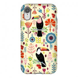 iPhone Xr  Colorful Toucans On Cream  by Tigatiga