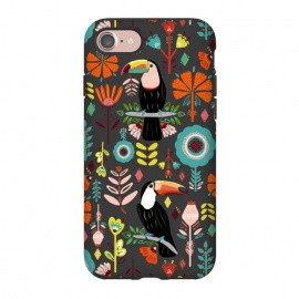 iPhone 8/7  Colorful Toucans On Grey  by Tigatiga