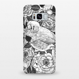Galaxy S8+  Zebra finch and rose bush ink drawing by Katerina Kirilova