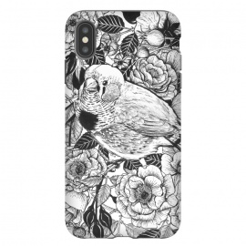 iPhone Xs Max  Zebra finch and rose bush ink drawing by Katerina Kirilova