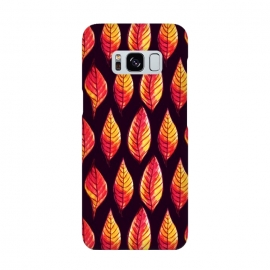 Vibrant autumn leaves pattern in red and yellow by Boriana Giormova (dark floral, leaf, autumn, autumn colors, autumn pattern, autumn leaves, nature, plant, natural, foliage, illustration, floral, abstract, decorative, flora, painted, pattern, drawn, seamless, leaves, elegant, botanical, botanical pattern, painted leaves, leaf art, botanical design, leaf pattern, nat)