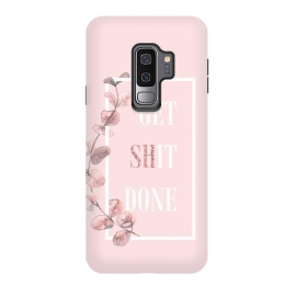 Galaxy S9 plus  Get shit done - with pink blush eucalyptus branch by  (Get shit done,utart, nature, botanical, flower, flowers, leaves, leaf, branch, eucalyptus, plant, pink, blush, trend, trendy, chic, feminine, woman, women, girl, girly, girls, watercolor, fuck, f*ck,fck,shite,typography, illustration, shit, text, quote, lettering, motivation, hand, word, calligraphy)