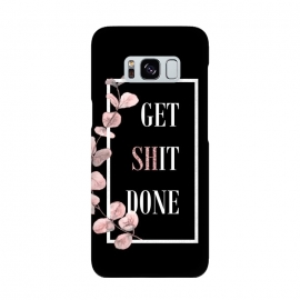 Get shit done - with pink blush eucalyptus branch on black by Utart