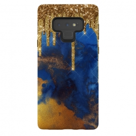 Galaxy Note 9  Raining Gold Glitter and Foil on Indigo Marble Ink by Utart (Stylish, Ombre, Girly, Marble, Marbled, Nature, Texture, Geode, Terrazzo, Metallic, Scandi, Bohemian, Boho, Scandinavian ,stone, crystal, quartz, gemstone, gem, granite, shimmer, shimmery, shiny ,metallic,trendy girly, simply, simple, glitter, chrystal, ink ,malachite, agate, metal, foil ,summer, sp)