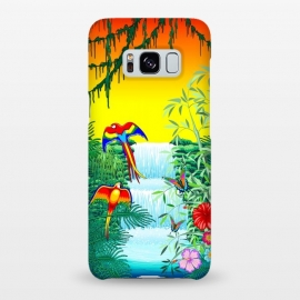Galaxy S8+  Waterfall Macaws and Butterflies on Exotic Landscape by BluedarkArt