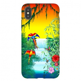 iPhone Xs Max  Waterfall Macaws and Butterflies on Exotic Landscape by BluedarkArt