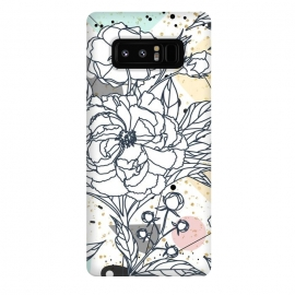 Galaxy Note 8  Modern geometric shapes and floral strokes design by