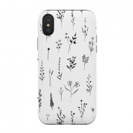 Wilflowers by Anis Illustration (floral,flowers,nature,botanical,botanic,spring,pattern,white,black,black and white,tattoo,girl,female,wildflowers)