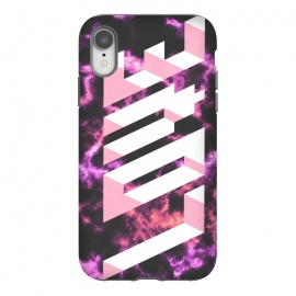 iPhone Xr  Love - 3D pink typography on magenta dark marble by