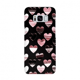 Pink white brushed chocolate hearts on black backgroung by Oana