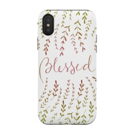 Blessed by Anis Illustration (quote,leaves,nature,positive,botanical,degradee,lettering)
