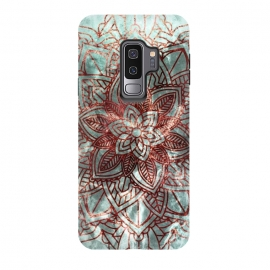 Galaxy S9 plus  Rust metallic mandala on turquoise marble by