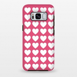 Galaxy S8 plus  White hearts by  (love,pink,heart,hearts,modern,graphic,valentine,valentines day,feminine,girly,stylish)