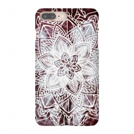 white line art floral mandala on burgundy marble by Oana