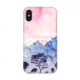 iPhone X  Utopic mountain landscape - pink blue by