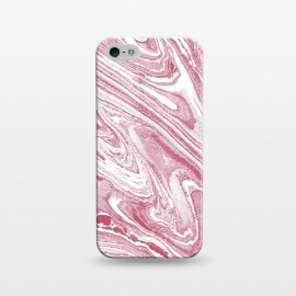 iPhone 5/5E/5s  Pastel fuchsia pink and white marble lines by