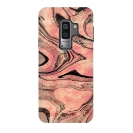 Galaxy S9 plus  rose gold liquid marble with black lines by
