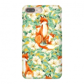 iPhone 8/7 plus  Jackals by  (acrylic, other, pattern, expressionism, jackal, wild, animal, floral, nature, leaves, mother, family, baby)
