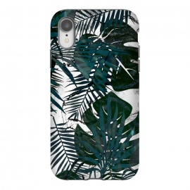 iPhone Xr  Dark green jungle leaves on white marble by