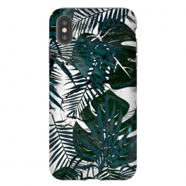 Dark green jungle leaves on white marble by Oana