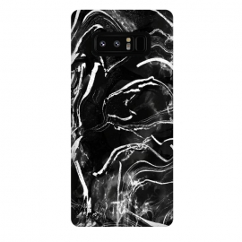 Galaxy Note 8  Black marble with white stripes by