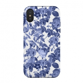 iPhone Xs / X  Chinoiserie Blue Rose Garden - Vintage Roses by