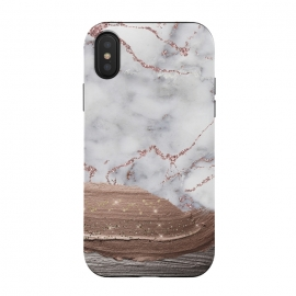Blush thick paint strokes on Marble with rosegold veins by Utart