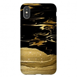 Gold thick hand drawn strokes on black and gold marble by Utart