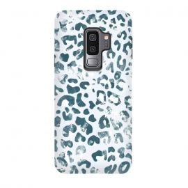 Galaxy S9 plus  textured turquoise leopard print by
