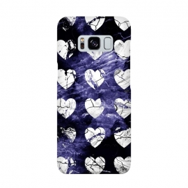 Marble hearts pattern on purple dark stone by Oana