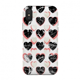 iPhone Xs / X  Marble 3d romantic hearts pattern  by