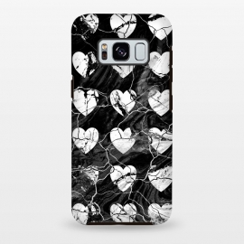 Galaxy S8 plus  Black and white marble hearts pattern by