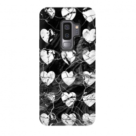 Galaxy S9 plus  Black and white marble hearts pattern by