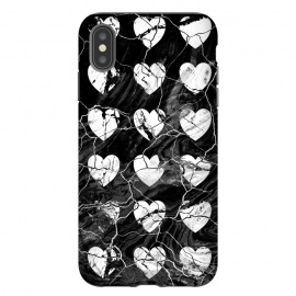 Black and white marble hearts pattern by Oana