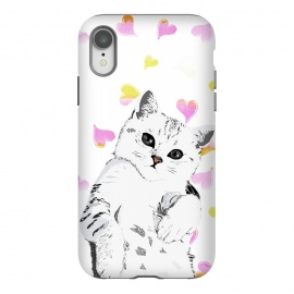 iPhone Xr  Cute white kitten and watercolor hearts by
