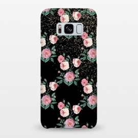 Romantic peony floral and golden confetti design by InovArts