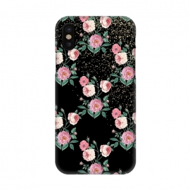iPhone X  Romantic peony floral and golden confetti design by