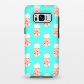 Galaxy S8 plus   Hala Kahiki Champagne Pattern  by  (pineapple,pineapple pattern,bluw,hawaii,aqua,watercolor,peach,fruit,food,tropical)