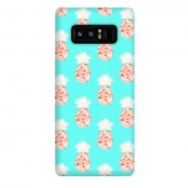 Galaxy Note 8   Hala Kahiki Champagne Pattern  by  (pineapple,pineapple pattern,bluw,hawaii,aqua,watercolor,peach,fruit,food,tropical)