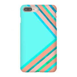Blue and Peach Stripes by Amaya Brydon (stripes,aqua,blue,peach,geometric)